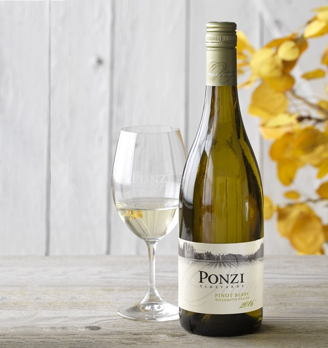 2016 Ponzi Pinot Blanc bottle and glass