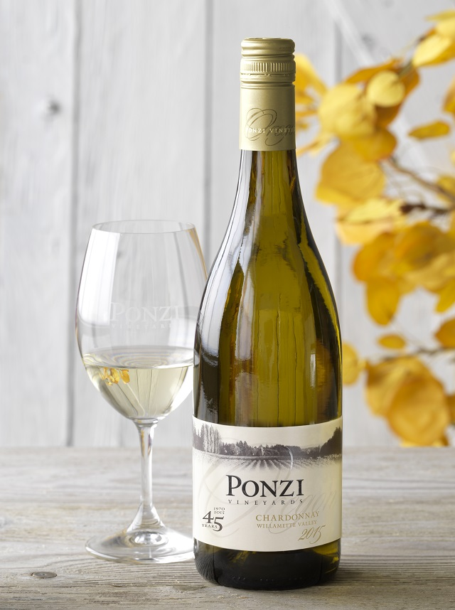 Bottle shot of the 2015 Ponzi Chardonnay