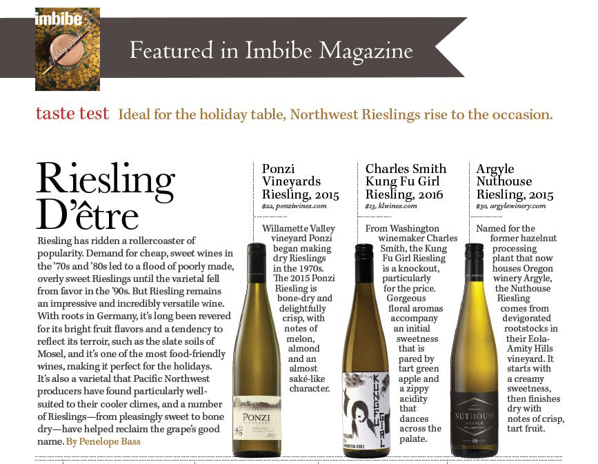 Ponzi Reisling featured in Imbibe Magazine