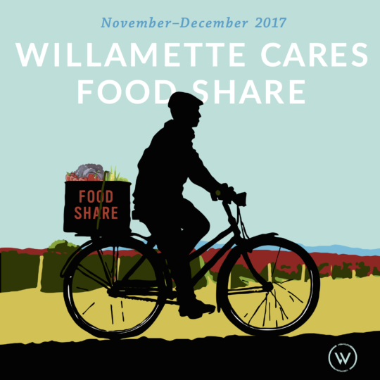 Bike messenger bringing food to vulnerable members of the Willamette Valley community